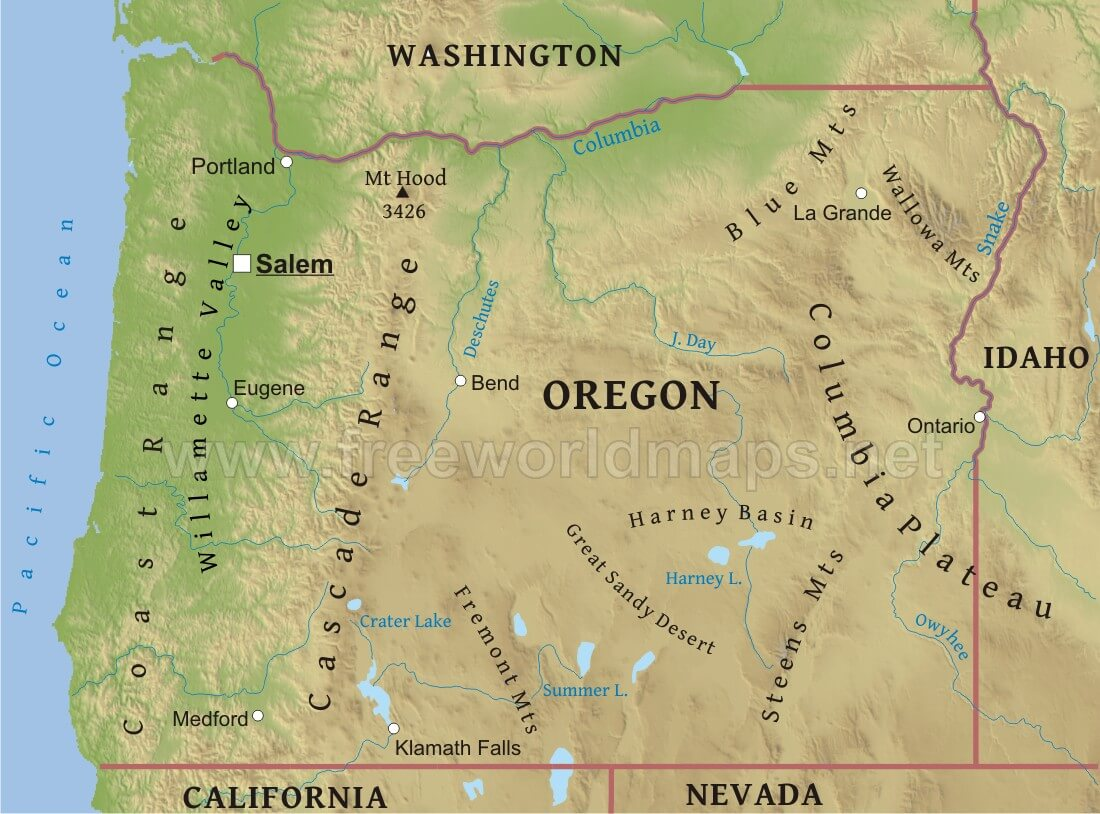 Physical Map Of Oregon