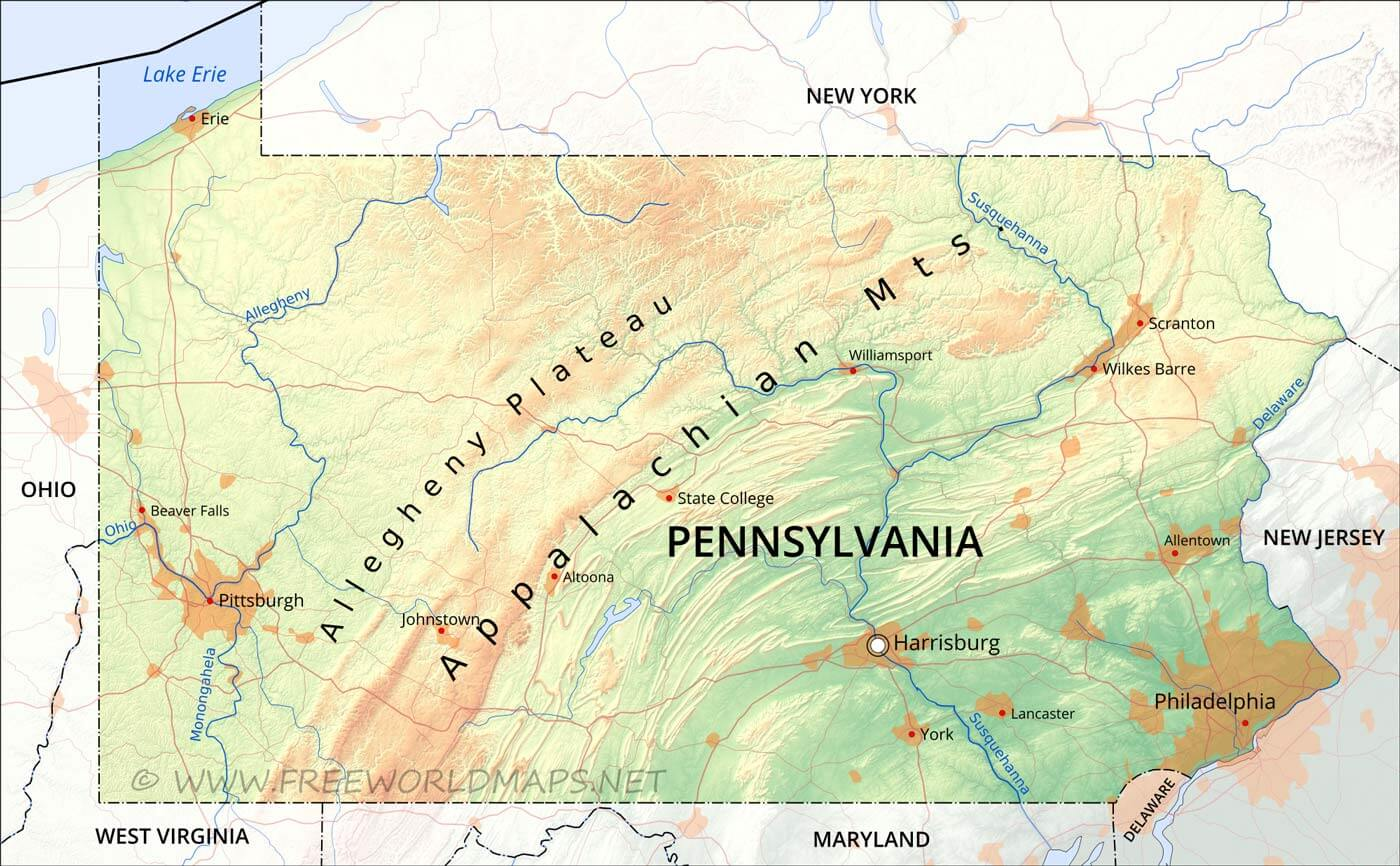 Physical map of Pennsylvania