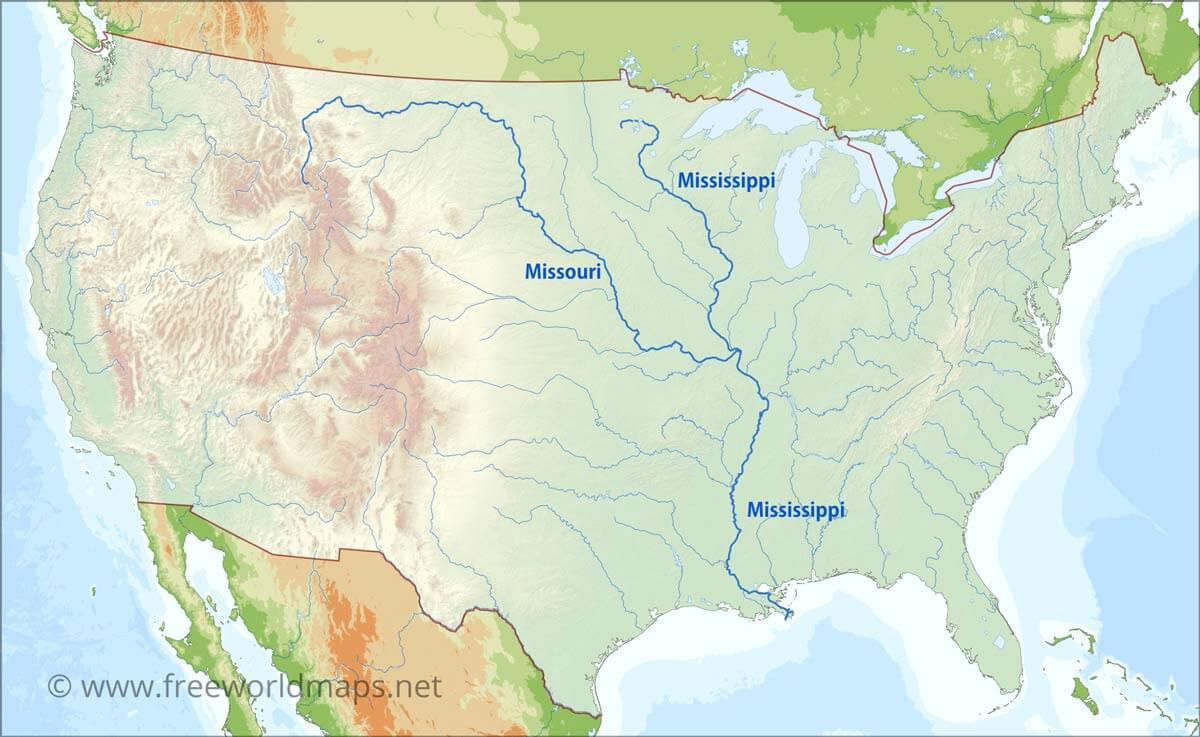 Us Map With Mississippi River Highlighted US Rivers map