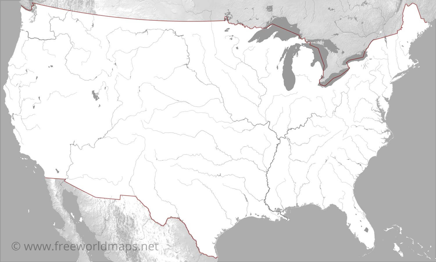 Us Rivers Blank Map US Rivers map