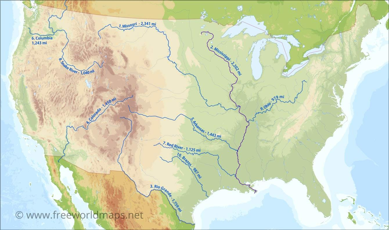 United State Map Rivers US Rivers map