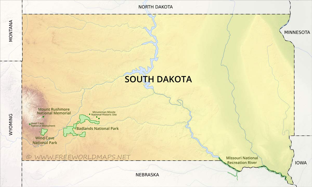 Physical map of South Dakota on map of british columbia national parks, map of florida national parks, map of southeast us national parks, map of national parks in new york, 10 national parks, map of north america national parks, map of san francisco national parks, map of keystone national parks, map of new zealand national parks, map of united states caves, map of lewis and clark national historical park, map of utah's national parks, map of wind cave national park, map of costa rica national parks, map of india national parks, map of us with national parks, map of western usa national parks, map of quebec national parks, map of the us national parks, map of southern utah national parks,