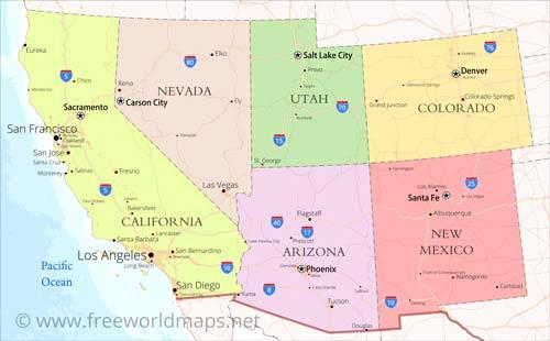 Us Map Of Southwest Southwestern US Physical Map