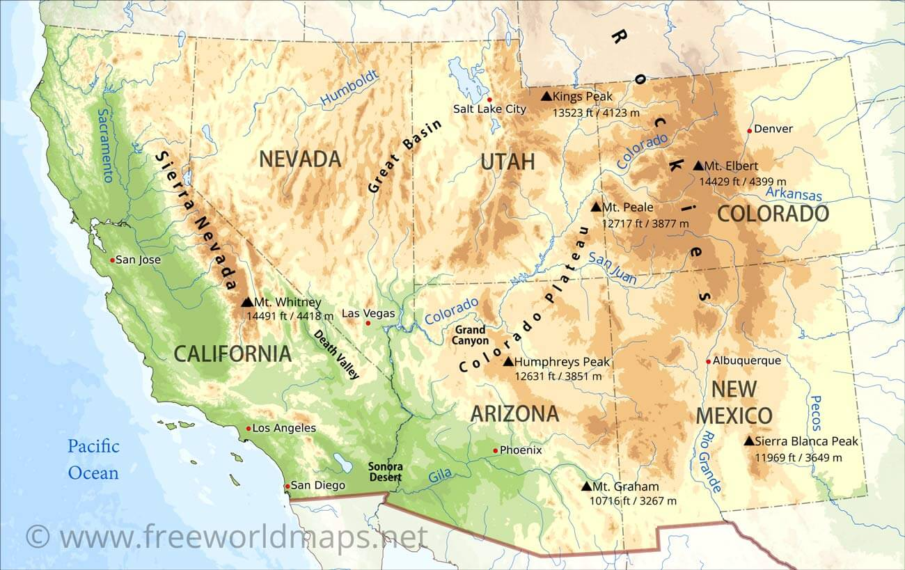 South West Us Map Southwestern US Physical Map