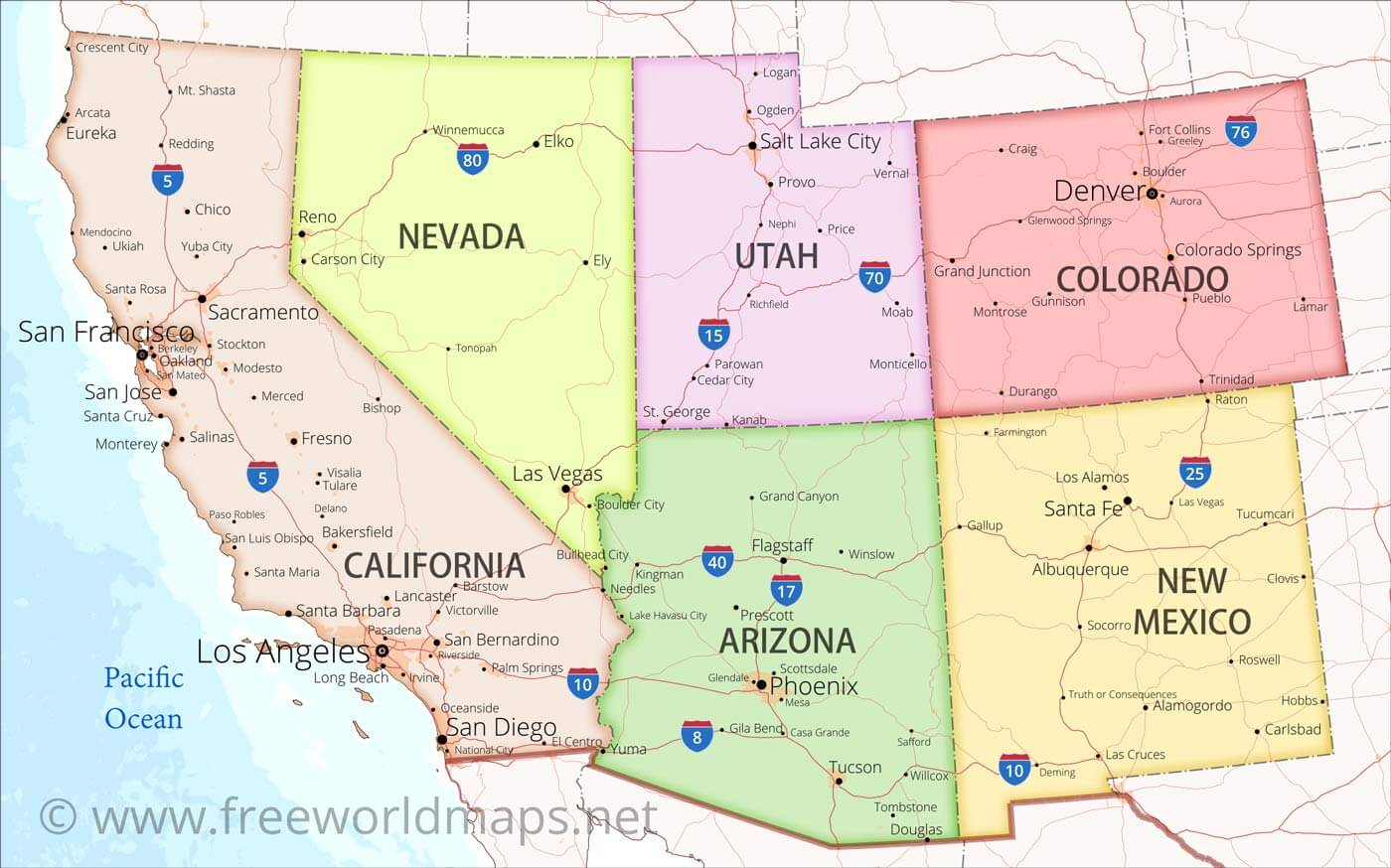 southwest us map with cities Southwestern Us Maps