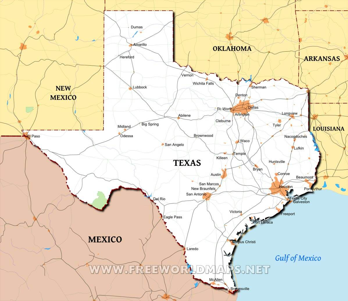 Political Map Of Texas Physical map of Texas Political Map Of Texas
