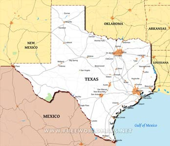 Where is Texas located on the map?