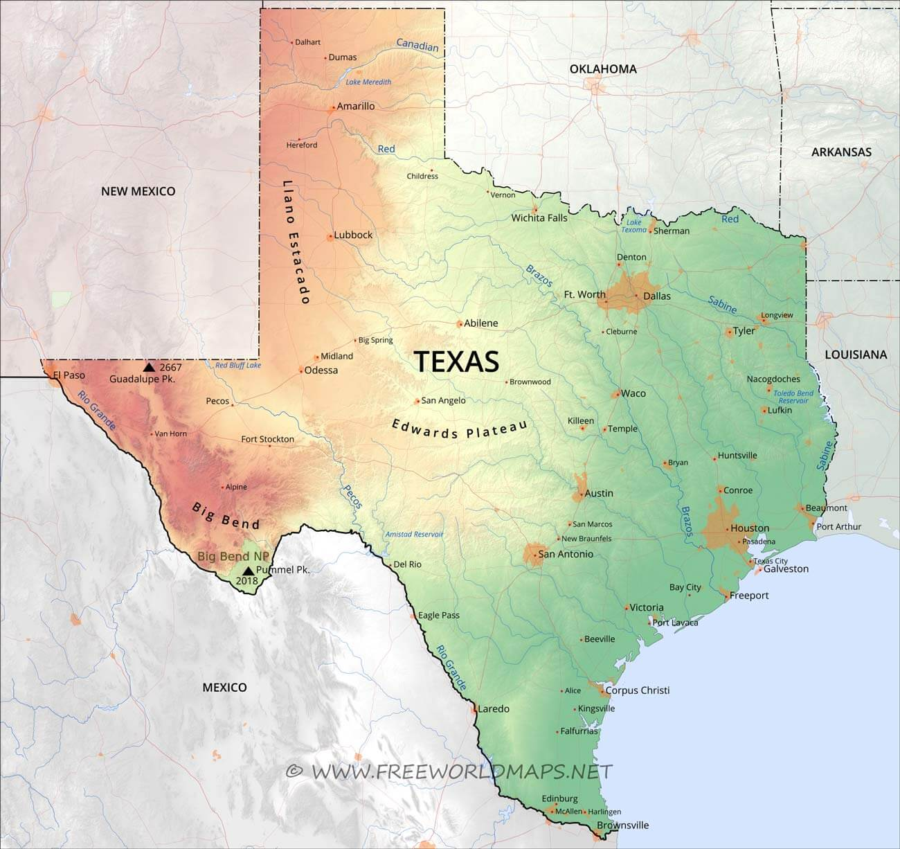 Map Of Texas Physical map of Texas