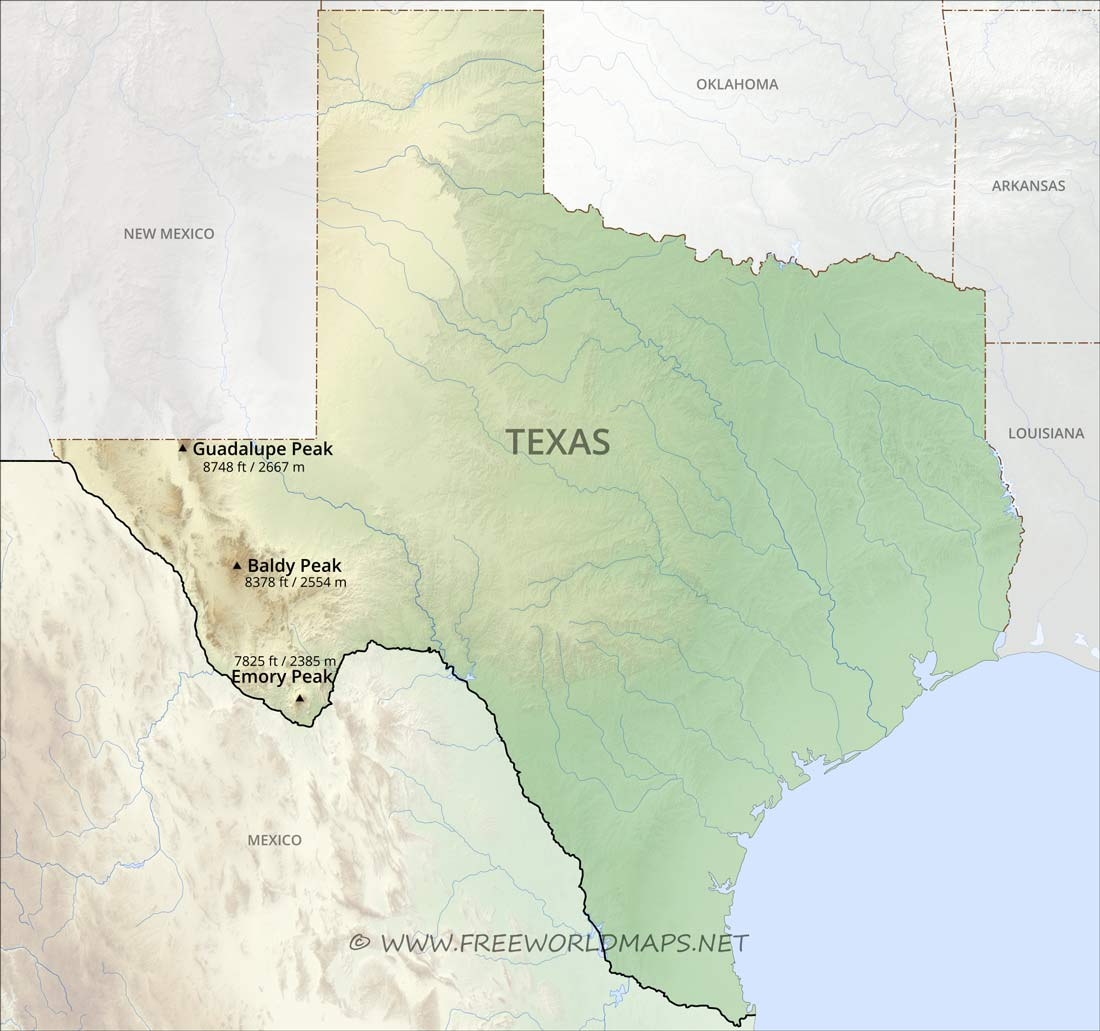 Map Of Texas And Louisiana Border.Physical Map Of Texas
