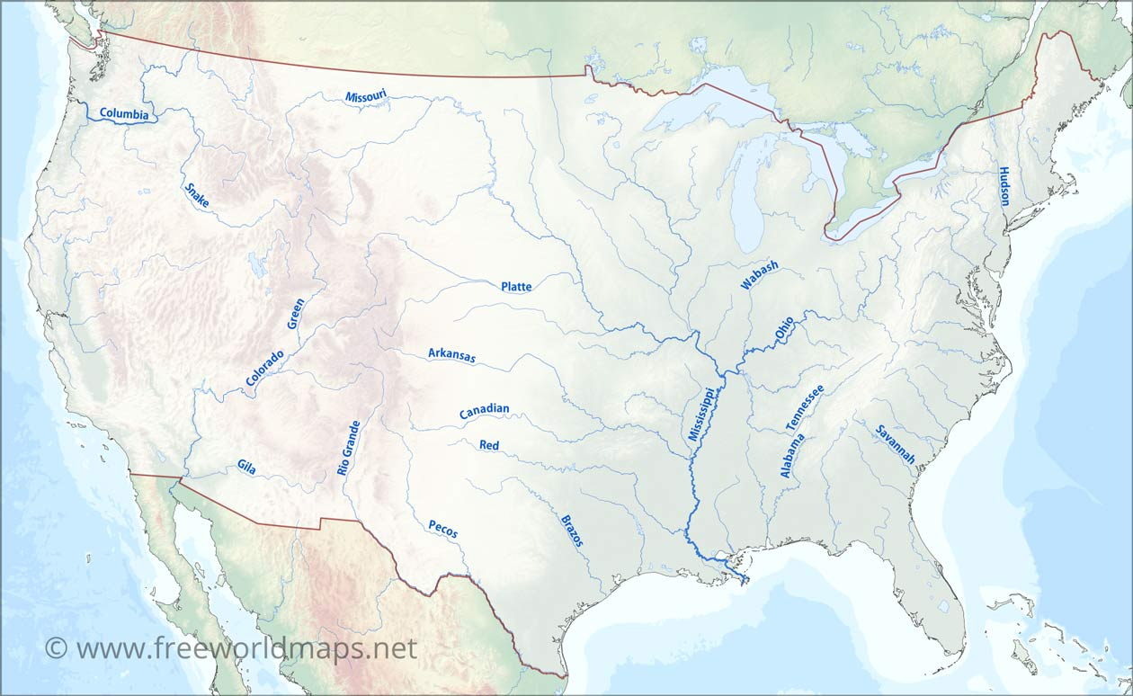 Major Us River Map US Rivers map