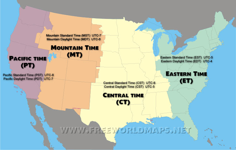 United states map Time zone state Names clocks