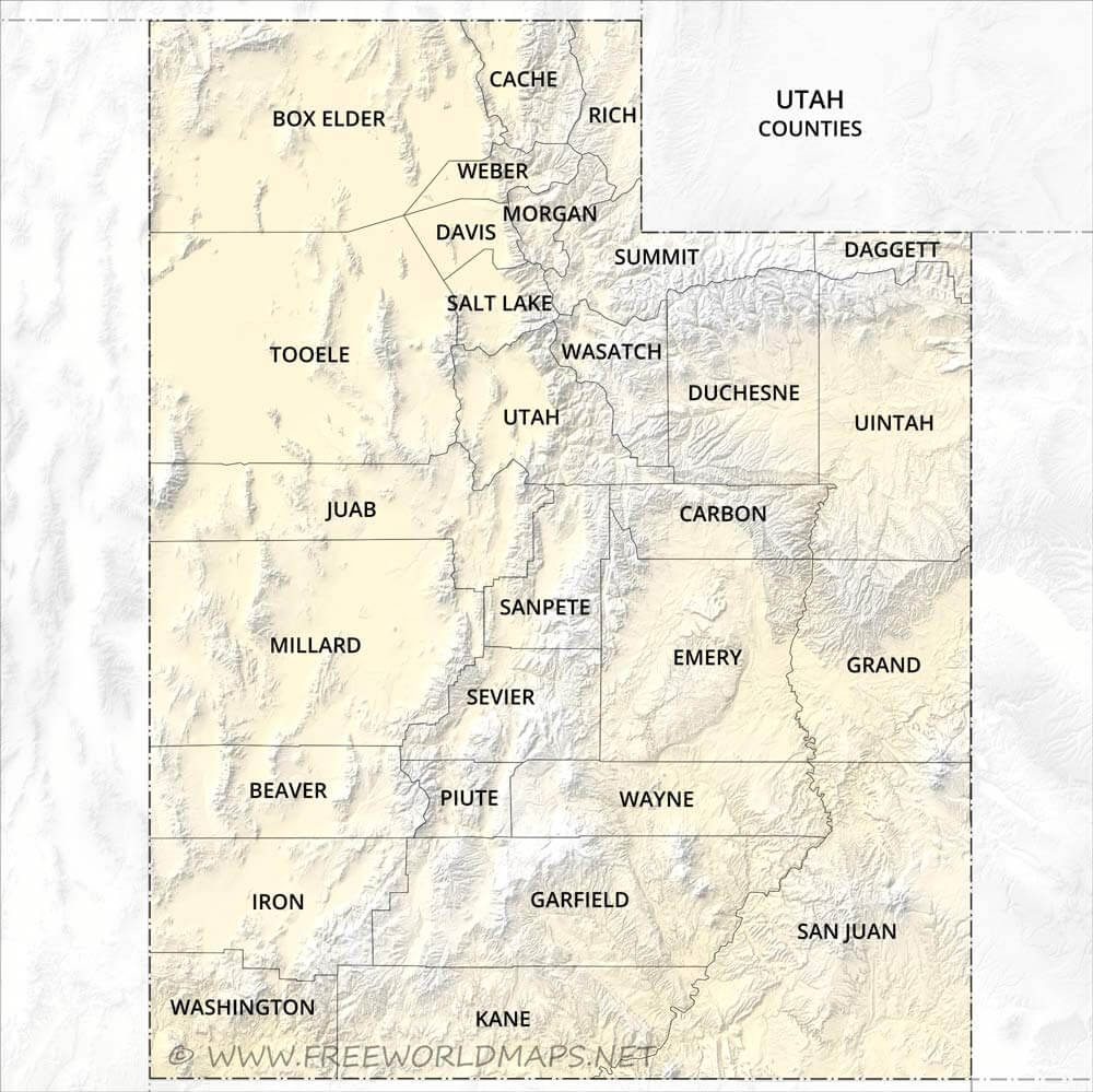 Physical map of Utah on map of summit, utah state counties, map of emery, map of millard, map of education, map of kane, map of tooele, map of north ga, map of utilities, blank map utah counties, map idaho counties, map of wasatch front, map of washington, map of alaska boroughs, map of pennsylvania towns, map of cities, map of states, map of salt lake, map of transportation, map of wayne,