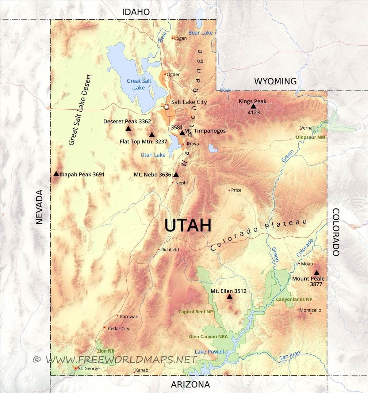 Physical map of Utah