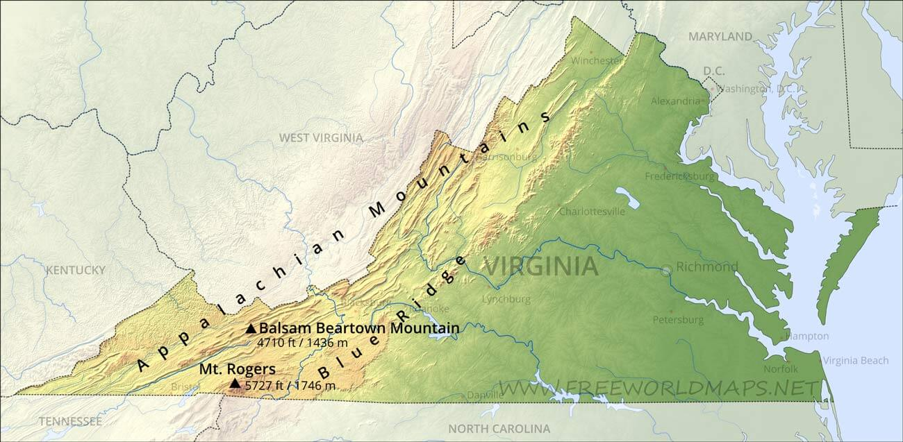 Picture of: Physical Map Of Virginia