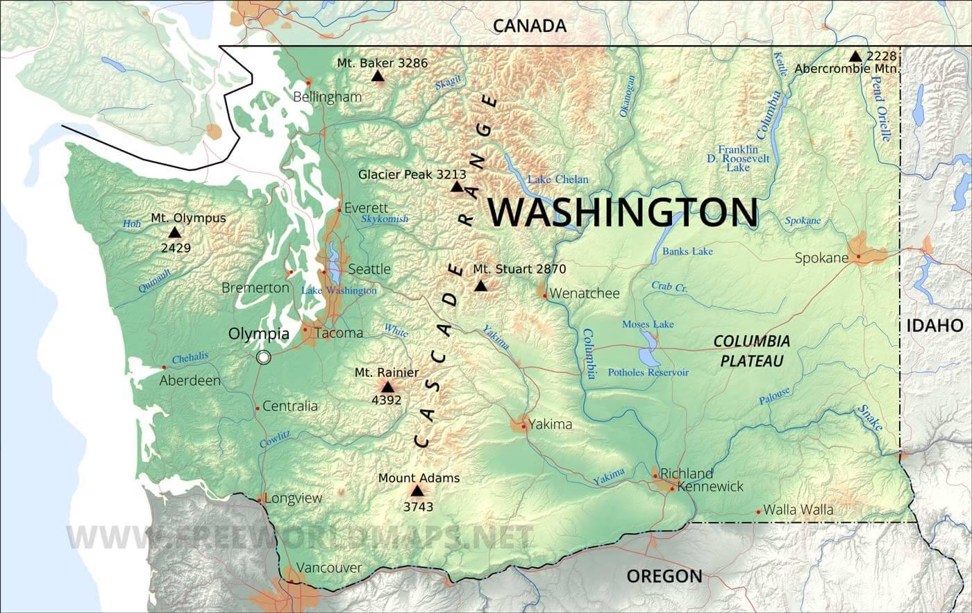 State Of Washington Map Physical map of Washington