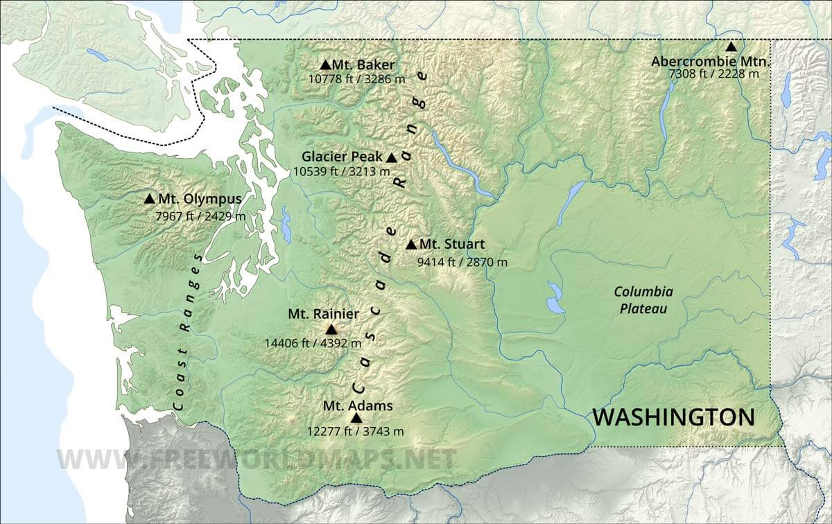 Mountains In Washington State Map Physical map of Washington