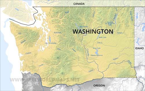 Tacoma To Seattle >> Physical map of Washington
