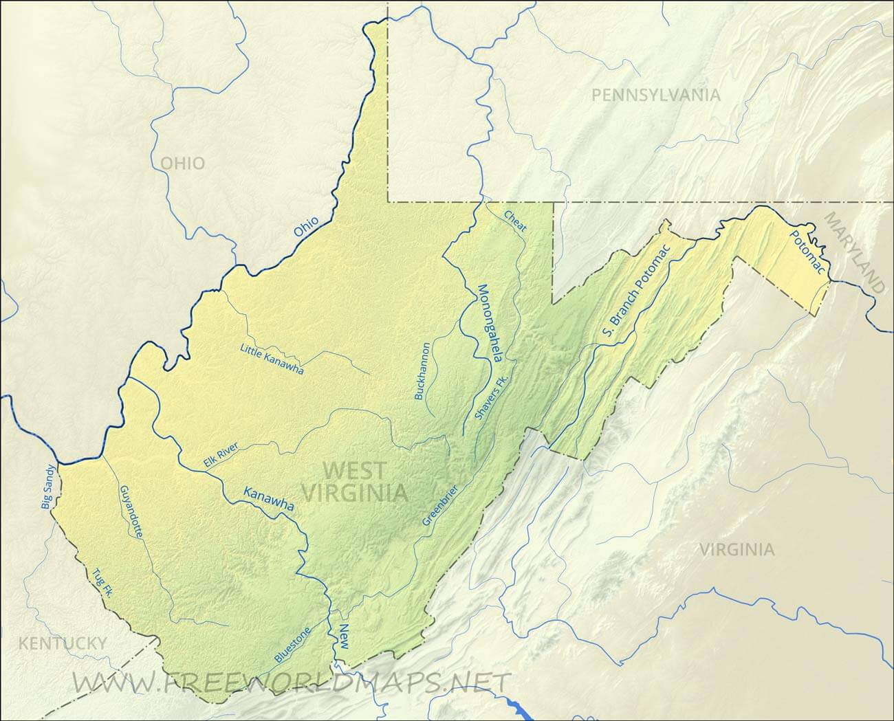 Physical map of West Virginia