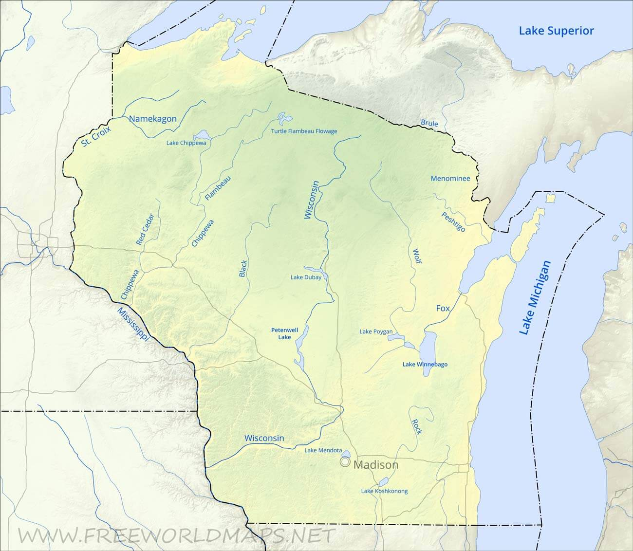 lakes in wisconsin map Physical Map Of Wisconsin lakes in wisconsin map