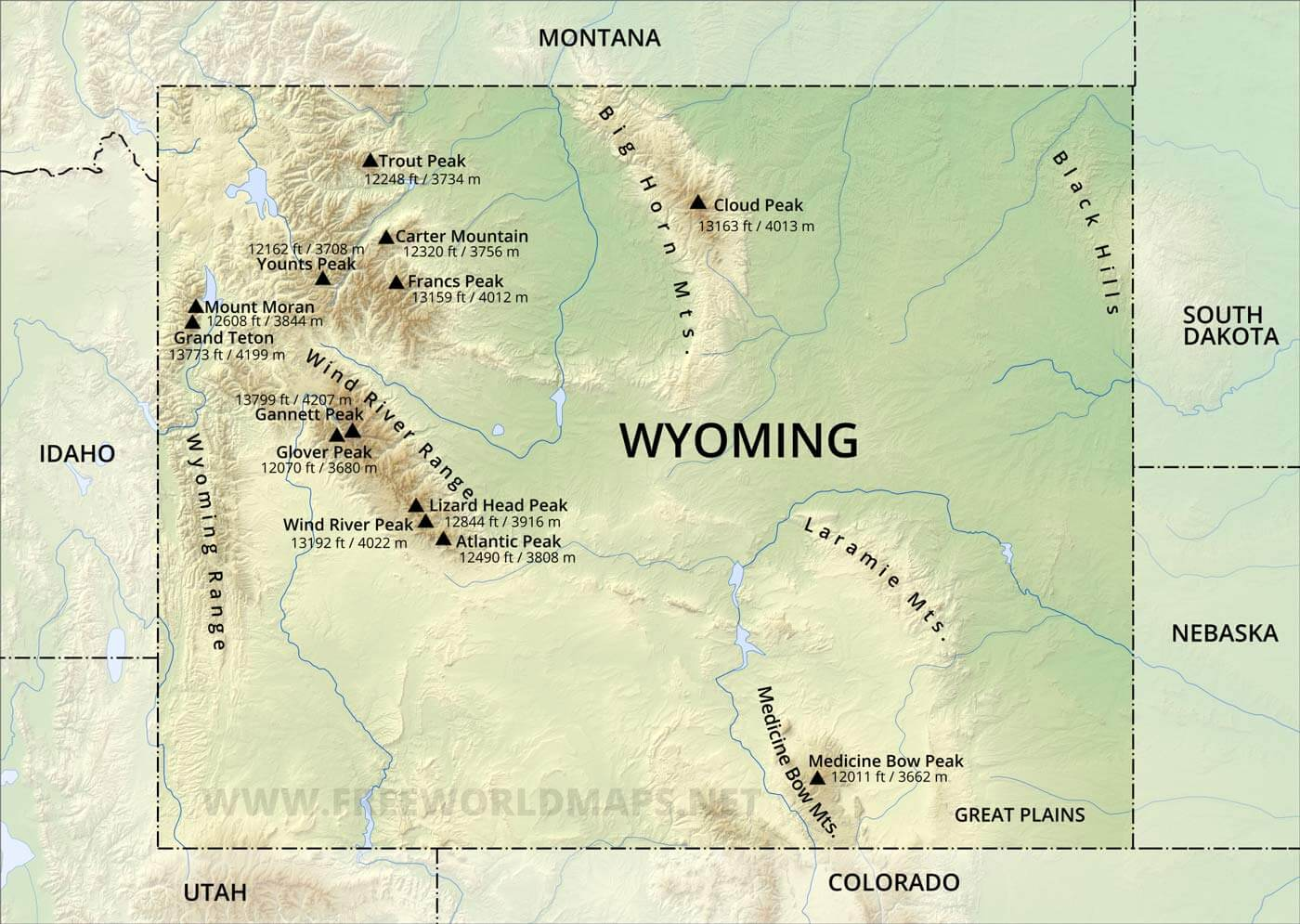 Physical map of Wyoming on il on us map, tn on us map, ky on us map, ak on us map, vermont on us map, mi on us map, ms on us map, mexico on us map, la on us map, ny on us map, nj on us map, quebec on us map, nh on us map, nc on us map, ks on us map, ia on us map, utah on us map, montana on us map, wi on us map, ma on us map,