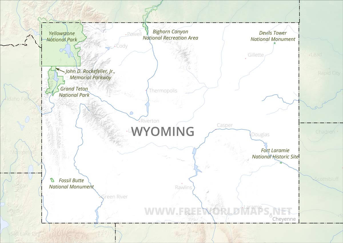 Physical map of Wyoming